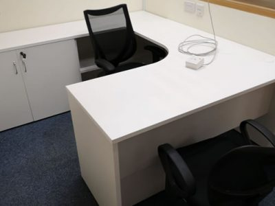 Tong Eng Building for Instyle Creative - Director's Desk with Swing Door Cabinet and Open Shelving