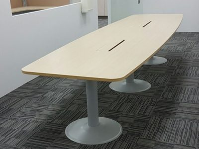 Kallang Pudding - Boat-shaped Conference Table with TK Series Metal Legs