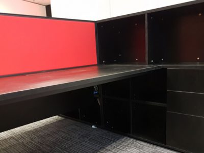 L Beauty - AL Series Workstation with side open cabinet drawers