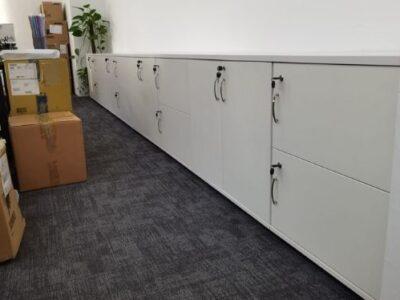 Nautec Pte Ltd - Customised Swing Door Wooden Cabinet with Lock and Silver Handles