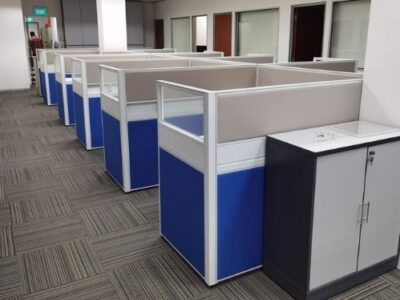 AEMP Pte Ltd - T40 Workstations with Customised Cabinets with Lock