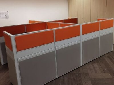 SembCorp (year 2021) - T40 Workstations with Orange and Grey Fabric Panels