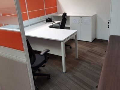 SembCorp (year 2021) - T40 Workstations with White L-shaped Desk and White Cabinet