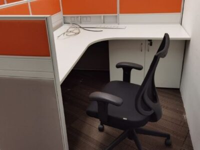 SembCorp (year 2021) - T40 Workstations with White L-shaped Desk and Black N703 Office Chair