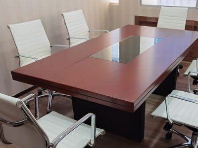 Wood Veneer Conference Table White Leather Office Chairs