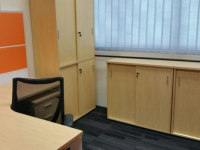 THK - Wooden High and Low Cabinets with Sliding Doors