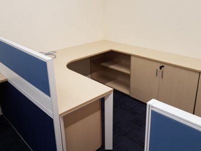 Verint - T40 Series Workstation with DE Table Legs and Customised Cabinet