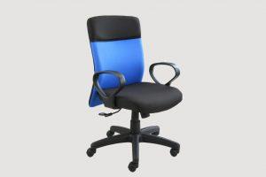 ergonomic mid back office chair black frame black-blue seat castor wheels