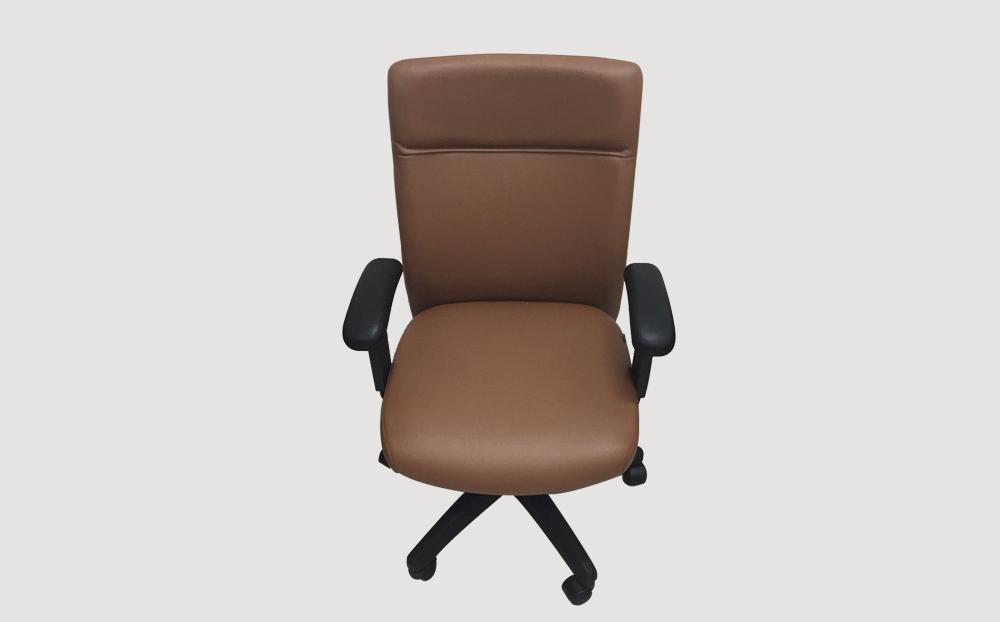 ergonomic mid back office chair PVC black frame brown seat castor wheels