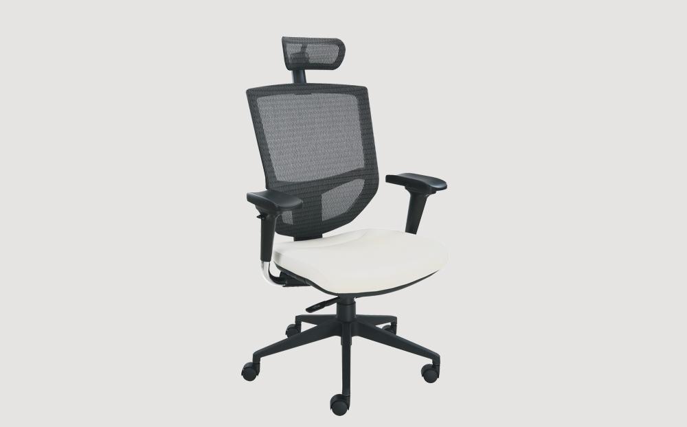 ergonomic high back office chair black frame white seat chrome legs castor wheels