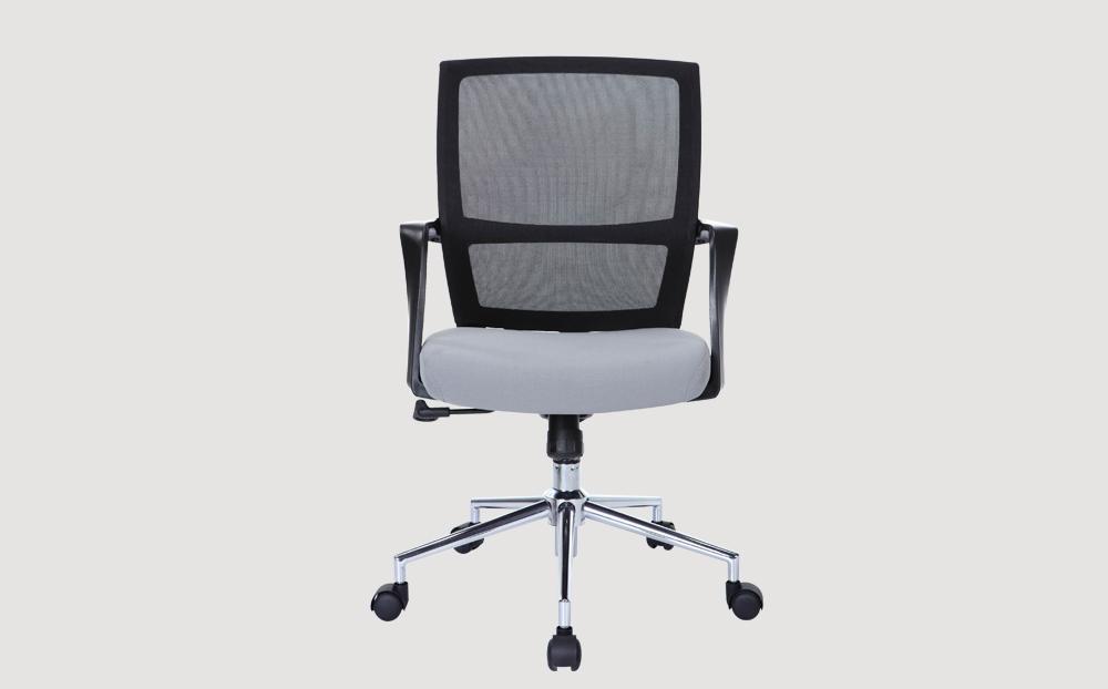 ergonomic mid back office chair mesh back black frame grey seat chrome castor wheels