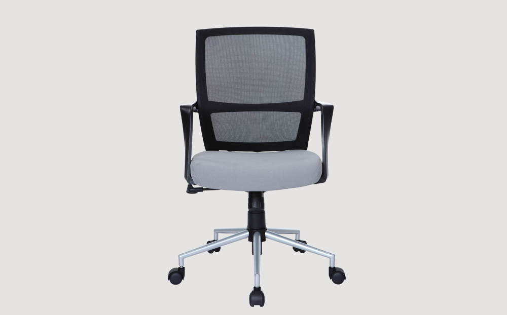 ergonomic mid back office chair mesh back black frame grey seat silver powder coated castor wheels