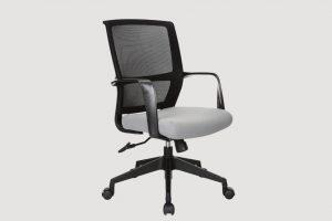 ergonomic mid back office chair mesh back black frame grey seat black castor wheels