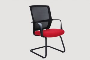 ergonomic mid back office chair mesh back black frame red seat