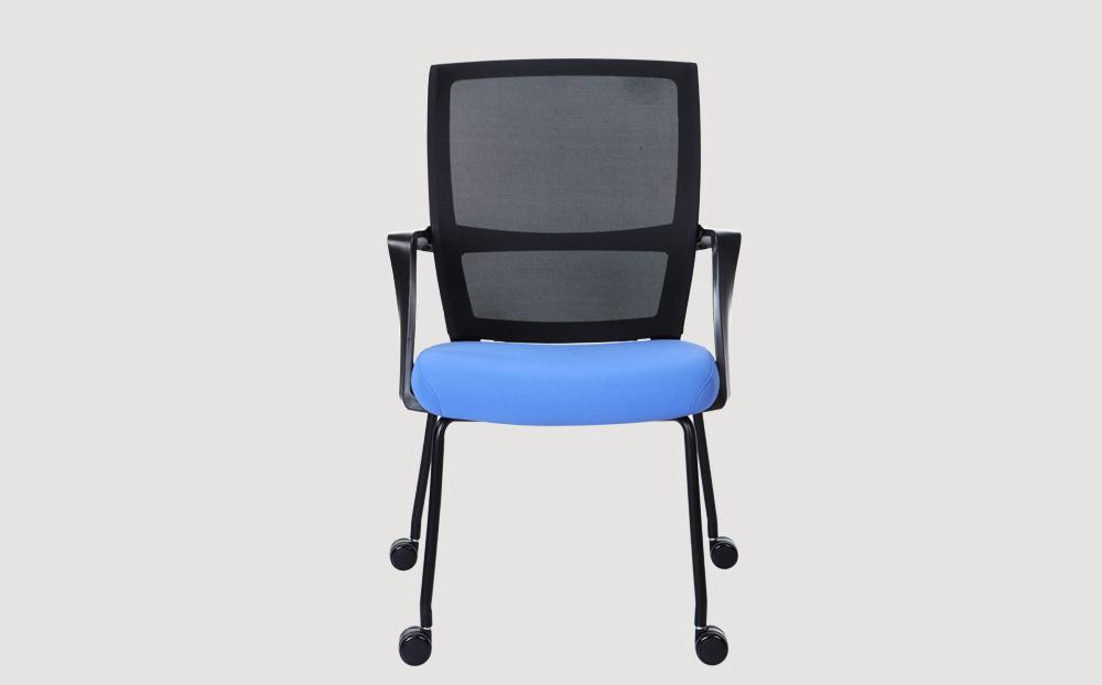 ergonomic mid back office chair mesh back black frame blue seat