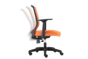 ergonomic mid back office chair mesh back black frame orange seat