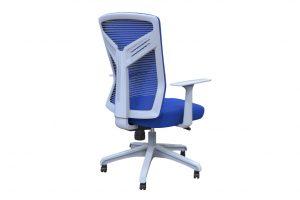 ergonomic mid back office chair mesh back white frame blue seat