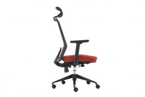 ergonomic high back office chair mesh back lumbar support black frame red seat