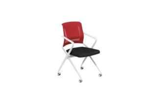 Owen LS-548 - Red Mesh Back White Front View - Offitek