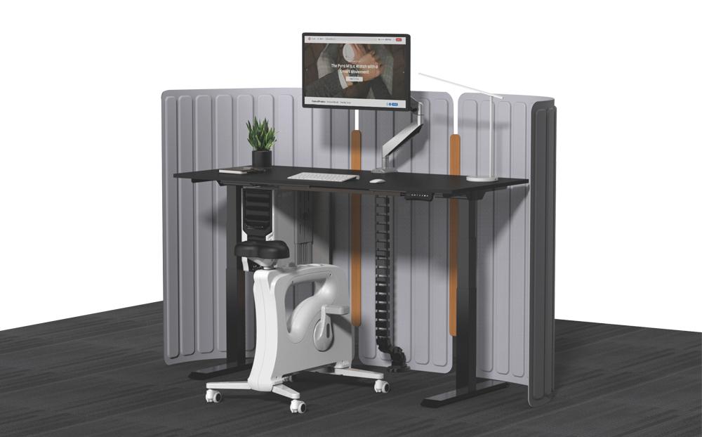 Height adjustable table dual motor black table top black table legs ErgoDesk