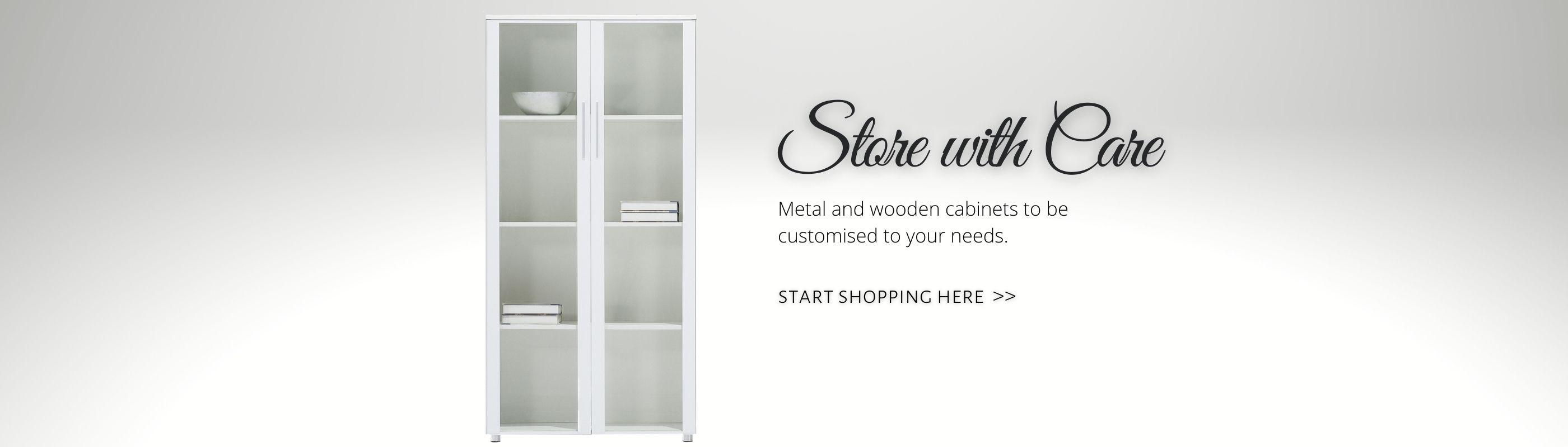 Wooden Cabinet White with Glass Door_Offitek
